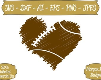 Football SVG - Distressed Football Heart SVG - Football Heart SVG - Files for Silhouette Studio/Cricut Design Space