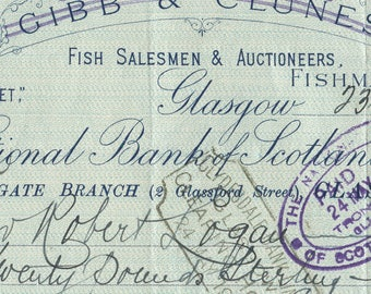 1912 Gibb & Clunes Check, Ephemera