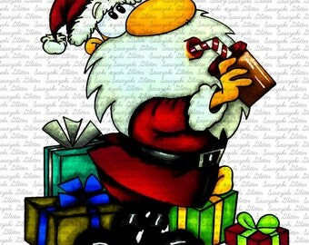 IMAGE #127 - THIRSTY SANTA  Digital Stamp by Sasayaki Glitter digital stamps- Naz-Line art only - Black and white