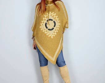 1990s Poncho Sweater - Boho Knit - Embellished - One Size Fits All - Has Sleeves - Golden Yellow, Cream, Brown - Fall Winter Coat