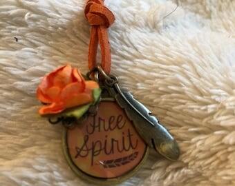 """Orange Flower/Bronze Feather/""""Free Spirit"""""""