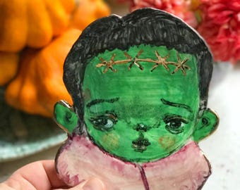 Porcelain hand-painted Frankenstein plate , perfect gift for Halloween