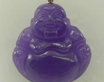 Lavender Jade Buddha Pendant 14k Yellow Gold