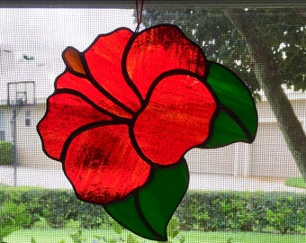 Stained Glass Red Hibiscus Flower Suncatcher