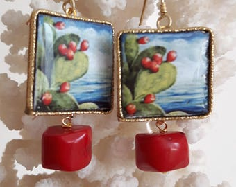 Caltagirone ceramics, coral and Silver earrings