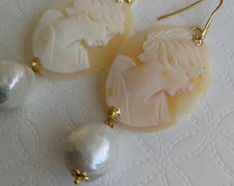 Sardonyx Shell cameo earrings and white baroque pearls, silver earrings, Italian jewels