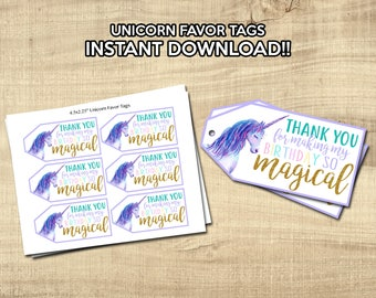 UNICORN FAVOR TAGS | Unicorn Birthday Party Decor | Instant Download