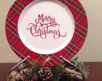 Decorative Plaid Christmas-Holiday Plate, Merry Christmas Plate