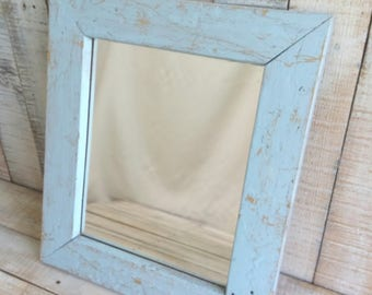 Shabby Chic Rustic Vintage Wooden Mirror Painted Light Blue and Distressed