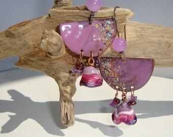 Ethnic, bohemian, boho chic, pink, copper, enamel earrings