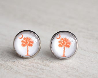 Palmetto - South Carolina Orange Clemson Stud Earrings