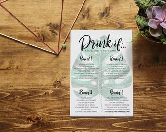 Tropical Drink If Bachelorette Game | Bachelorette Party Game | Tropical Watercolor | Printable Instant Download