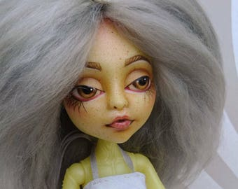 OOAK Monster High Doll Face-up/Repainted Doll With Handmade Yarn Wig