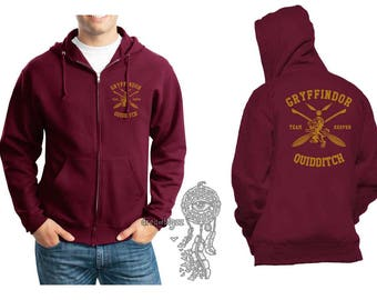 KEEPER - Gryffin Quidditch team Keeper Yellow print printed on Maroon Zipper Hoodie