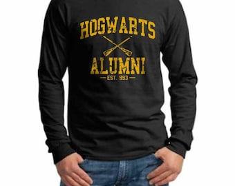 Hgwrts Alumni #1 Yellow Huffle print on Longsleeve MEN tee Black