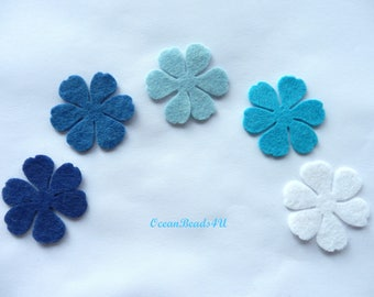 30 Sky Felt Flowers (3 sizes) D , Felt Flowers Shape, Filz Blumen