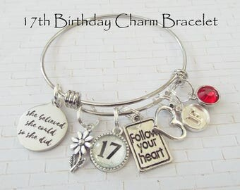 Birthday Gift for Teenage Girl, 17th Birthday Gift Girl, Happy Birthday Charm Bracelet, Custom Charm Bracelet, Personalized Gift for Her