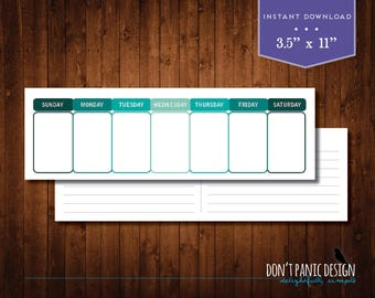 Printable Perpetual Weekly Calendar - Simple Modern Teal Green Daily Calendar - Instant Download