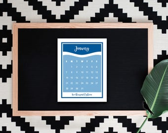2018 Printable Desk Calendar - Modern Wave Color Block Monthly Calendar - Small Desk Calendar - Decorative 2018 Instant Download Calendar