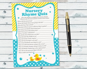 Rubber Ducky Nursery Rhyme Quiz Baby Shower Game Printable, Yellow Duck Printable Nursery Rhyme Quiz, Rubber Ducky Baby Shower Rhyme Game