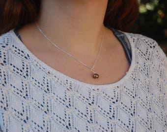 Copper Colored Genuine Pearl Pendant Necklace