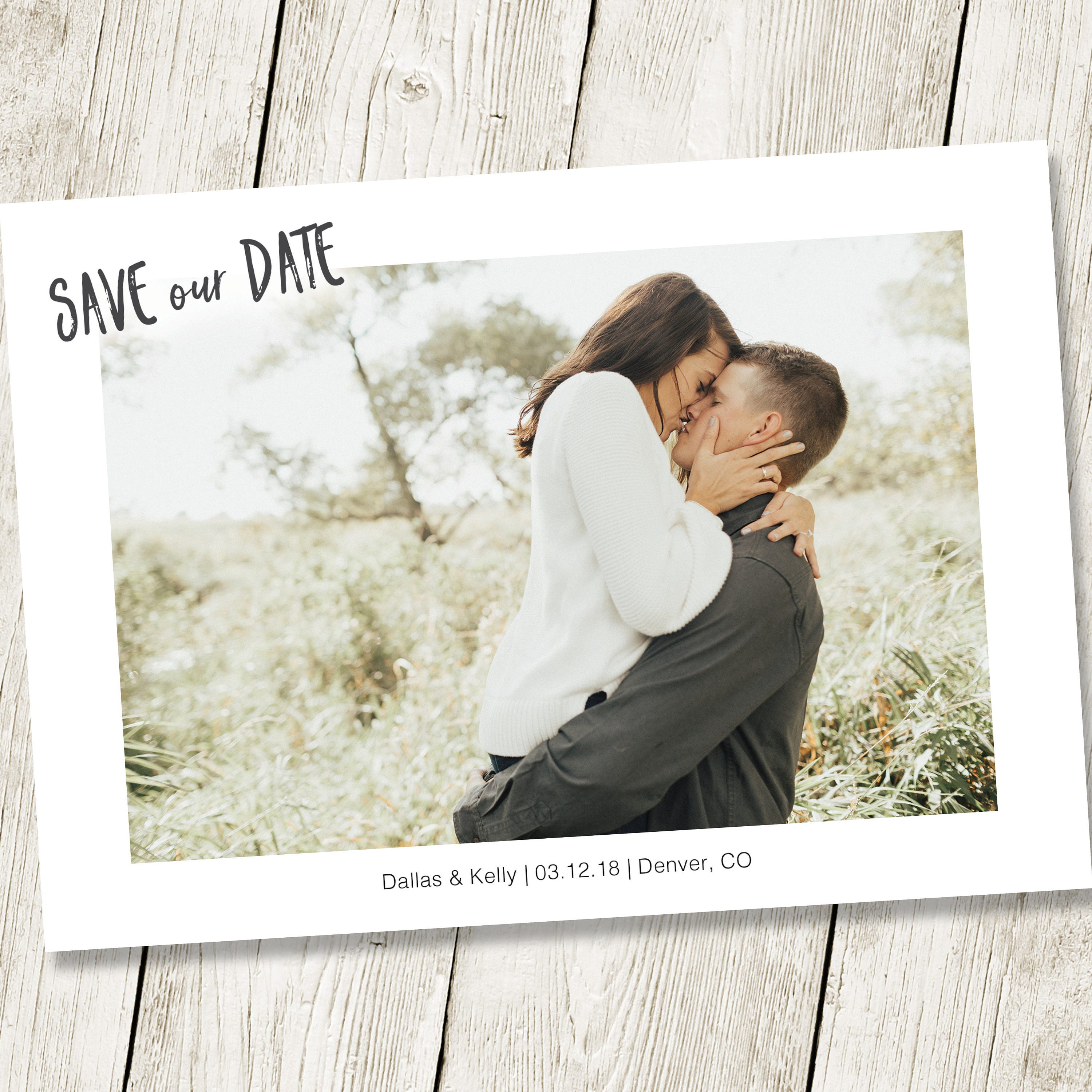 Save the Date Template with Photo Card Photoshop Template ...