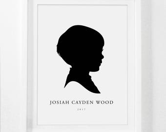 Silhouette Portrait, Custom Silhouette Print, Child Silhouette Portrait, Framed Silhouette Portrait, Kids Silhouette Print, Mothers Day Gift