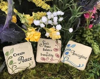 Miniature Square Inspirational Plaque - Your Choice of 12 Messages!