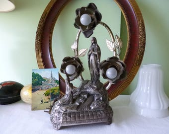 With lamps religious music box Ave Maria LOURDES appearance 1950