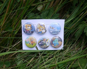 "Super Smash Bros Melee Fox Pack - 6 button set - 1"" video game badges pins enamel pinbacks SSBM"
