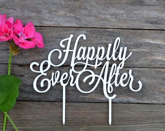 Happily Ever After Cake toppers for wedding gold silver mirror Wedding Cake Topper