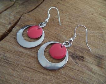 Hoop earrings Silver earrings with raspberry pink sequin