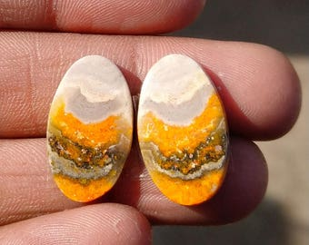 New year sale 17.30cts Bumblebee Pair natural Gemstone ,cabochon , smooth, oval  shape, 21x12x3mm   size, AM131