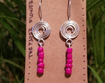 FREE SHIPPING! Cute Pink Beaded Earrings with swirl!
