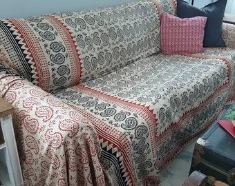Slipcover, SofaScarf, Block Print