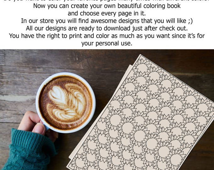 Printable Sunflower Pattern Coloring Page - Cute And Relaxing Nature Print