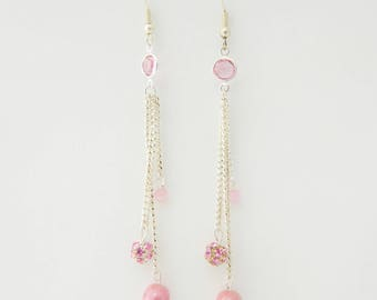 Dangling swarovski crystal Pink Silver earrings