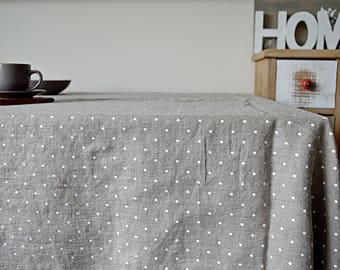 Natural Linen tablecloth - Polka dots tablecloth with mitered corners - Simple rustic linen tablecloth - Stonewashed linen tablecloth