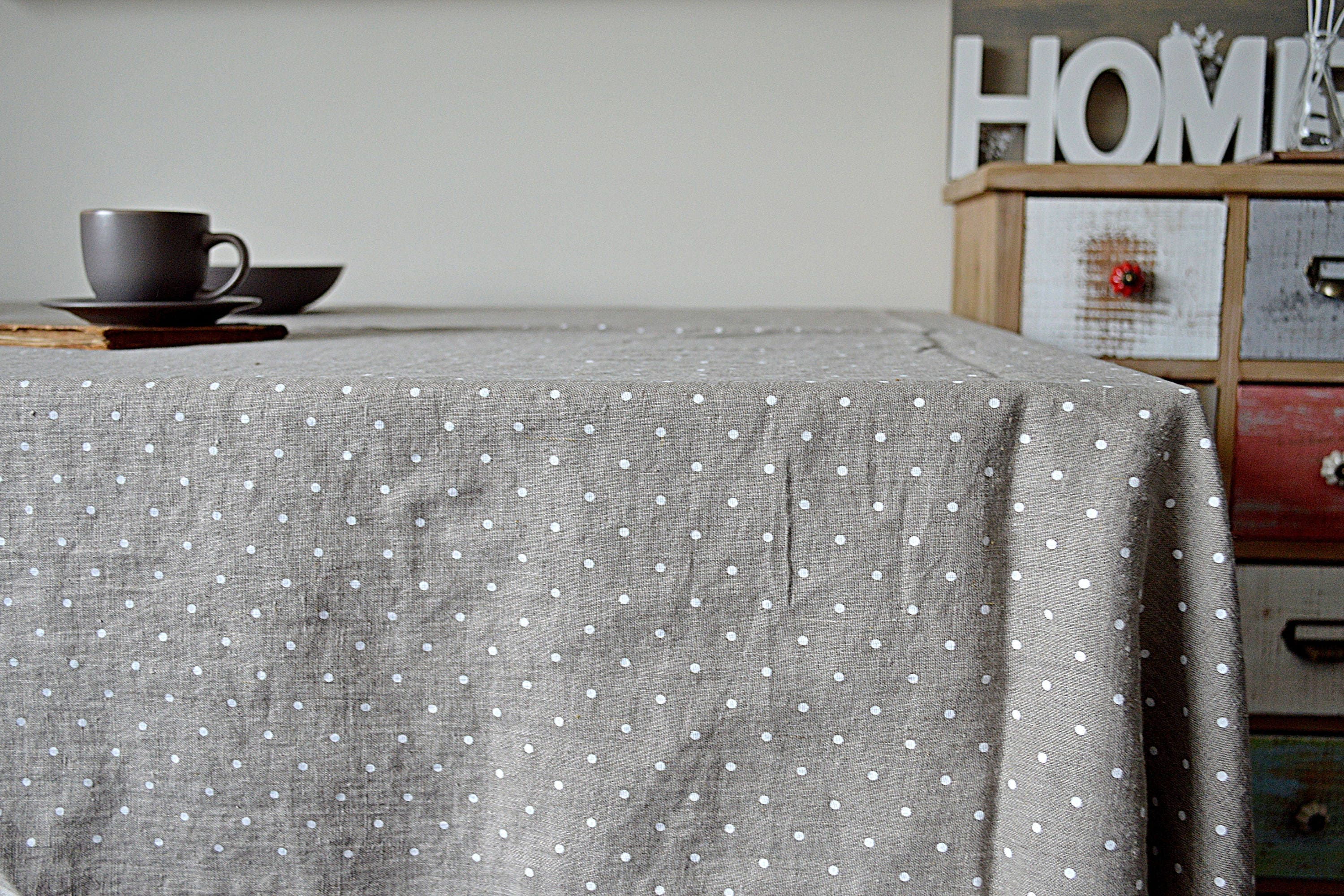 Natural Linen Tablecloth   Polka Dots Tablecloth With Mitered Corners    Simple Rustic Linen Tablecloth   Stonewashed Linen Tablecloth