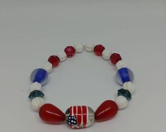 Red, White and Blue, Flag streach Bracelet