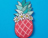 SALE* Pink Pineapple with Floral Crown Embroidered Iron On Patch //  Custom Denim , Patch Game