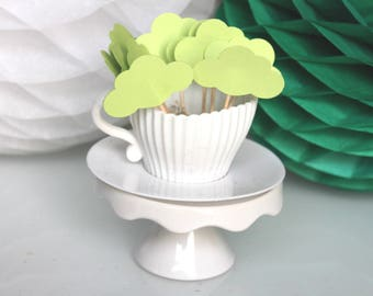 10 decorations for Cupcakes (cupcake toppers) - Green clouds