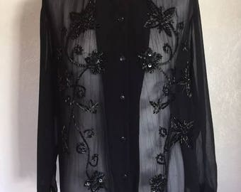 Vintage Sheer Beaded Floral Detail Blouse