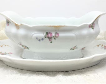 CH Field Haviland, CFH/GDM France, Gravy, Sauce Boat with Underplate - Floral Design - Gold Daubs