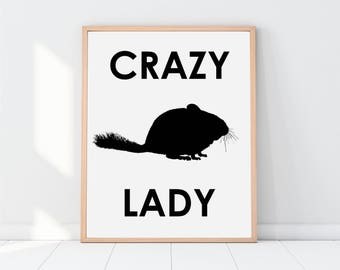 Funny Printable, Chinchilla lover, chinchilla poster, chinchilla print, funny wall art, chinchilla decor, printable women gift, crazy lady