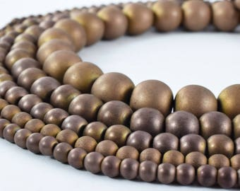 Hematite Matte Coffee Bronze Gemstone Round Stone Beads 4mm/4.5mm/6mm/8mm/10mm natural healing stone chakra stones for Jewelry Making