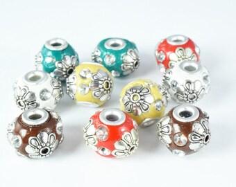 Indonesian Kashmir Clay Beads Handmade Beads 8 PCs, Bohemian Bali Style Jewelry Making Decorative Round Beads, Studded Beads