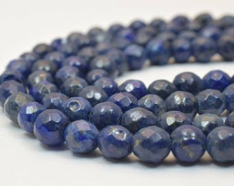 "Natural Lapis Lazuli Faceted Round Stone Beads 6mm for Jewelry Making Sold by 15"" Strand Item# 789222065744*"