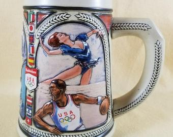 Olympic Stein ~ Budweiser Beer ~ 1992 U.S. Olympic Team ~ Vintage Beer Mug ~ Decorative ~ Collectible ~ Beer Stein ~ Seths Vintage Emporium