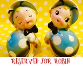 Northern Imports Anthropomorphic Blue Ladybug Salt and Pepper Shakers made in Japan circa 1950s